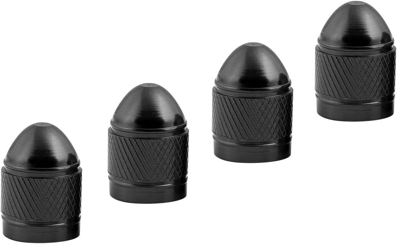 Cobella Bullet Tire Valve Stem Caps Dust-Proof Car Tire Accessories Auto Wheel Valve Stem Caps Aluminum Chrome Pack of 4 Black