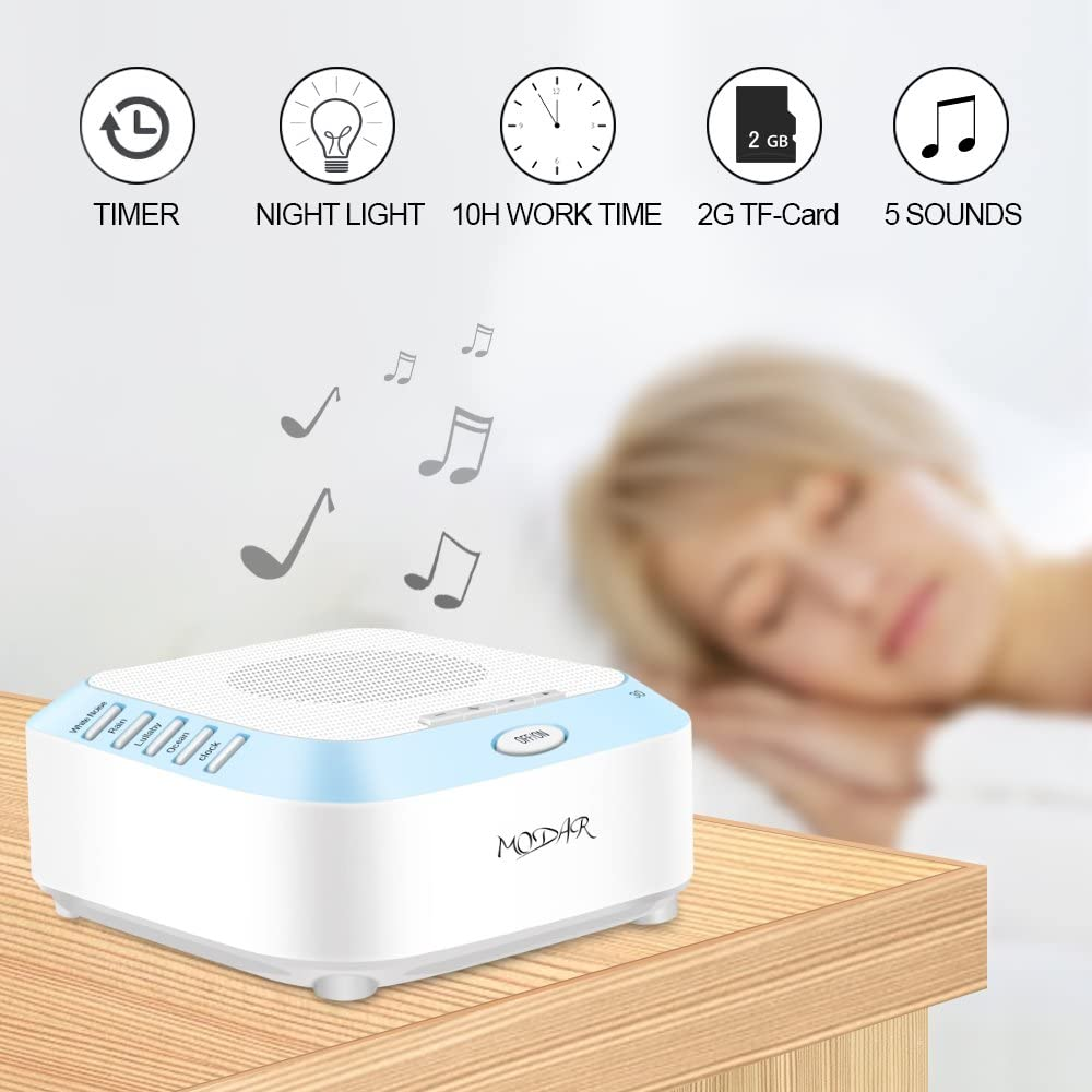 MODAR White Noise Machine with 2G TF Card, 5 Natural and Soothing Sound Therapy Machine – with LED Night Light 3 Timer Modes for Baby Kids Adults Infants -Plug in Powered Adapter Included