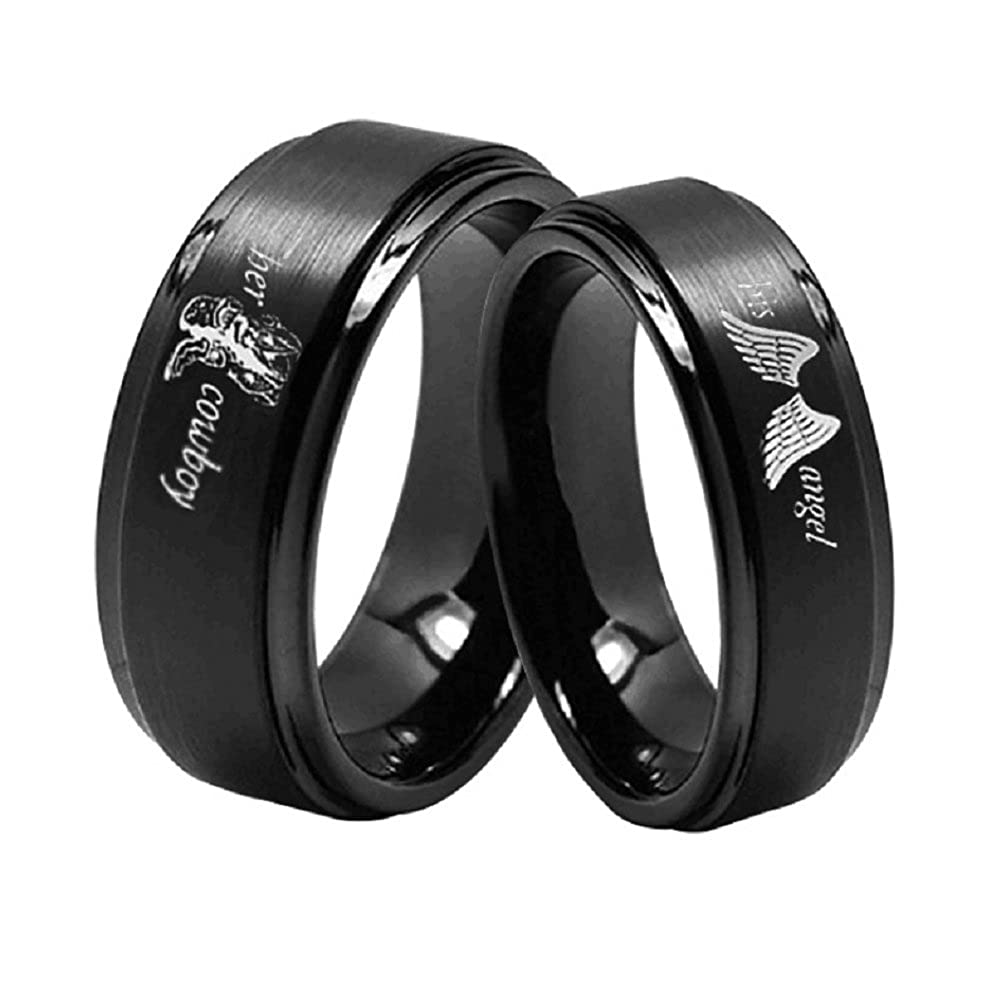 Her Cowboy/His Angel Ring Black Stainless Steel Boots Wings Anniversary Engagement Wedding Band for Men Women Blowin bw201805P8001