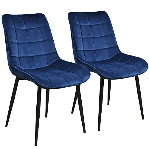 Modern Dining Chair Set of 2, Metal Legs Velvet Cushion Seat and Back for Dining Living and Waiting Room Chairs Blue