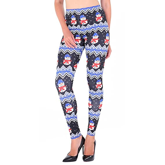 40ed498c179ac Idingding Women's Autumn Winter Christmas Snowman Stretchy Thick Printed  Brushed Leggings Pants at Amazon Women's Clothing store: