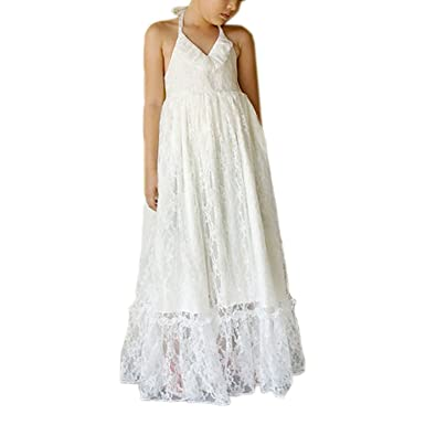 6c2f40162344 Amazon.com  WDE Halter Maxi Bohemian Flower Girls Dresses Summer Beach Wedding  Party  Clothing