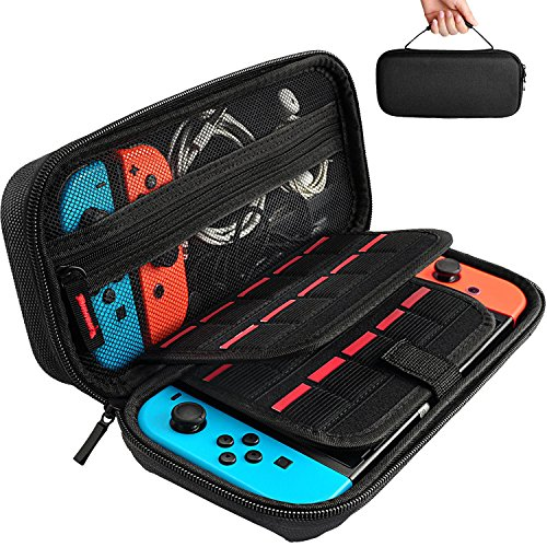 Deruitu Case for Nintendo Switch Case with 20 Game Cartridges - Protective Hard Shell Travel Switch Carrying Case Pouch for Nintendo Switch Console & Accessories, Black