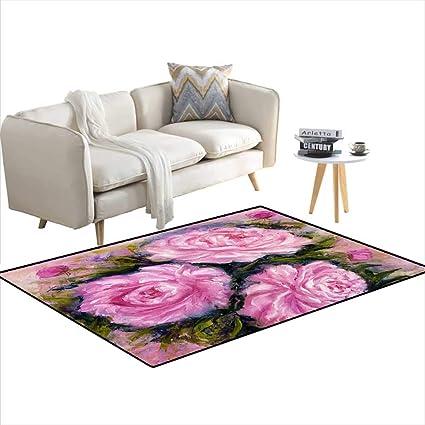 Amazon.com: Room Home Bedroom Carpet Floor Mat Pink Peonies ...