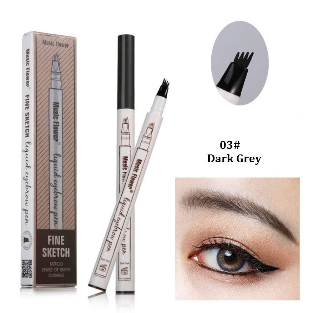 Tattoo Eyebrow Pen with Four Tips Long-lasting Waterproof Brow Gel and Tint Dye Cream for Eyes Makeup(3#Dark Gray)