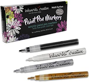 Acrylic Paint Pens: 4 Acrylic Paint Markers Fine Point Tip 1mm: Great for Rock Painting, Wood, Fabric, Card, Paper, Photo Album, Ceramic, Glass – Metallic Silver, Gold, Black, White Paint Marker
