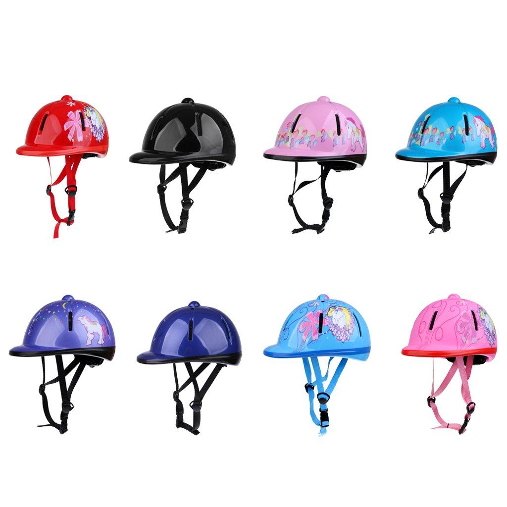 Bleu Neige MagiDeal Casque /Équitation Pour Enfant Coque Ext/érieure En PVC /Équipement De Protection Cavalier 48-54cm