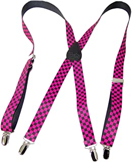 """product image for Holdup Suspender Company Inc Hold-Ups Pink and Black Checkered Flag 1"""" in X-Back with No-Slip Silver Clips"""