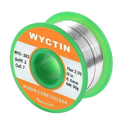 WYCTIN Cable de soldadura con núcleo de resina de plata sin plomo para soldadura eléctrica y