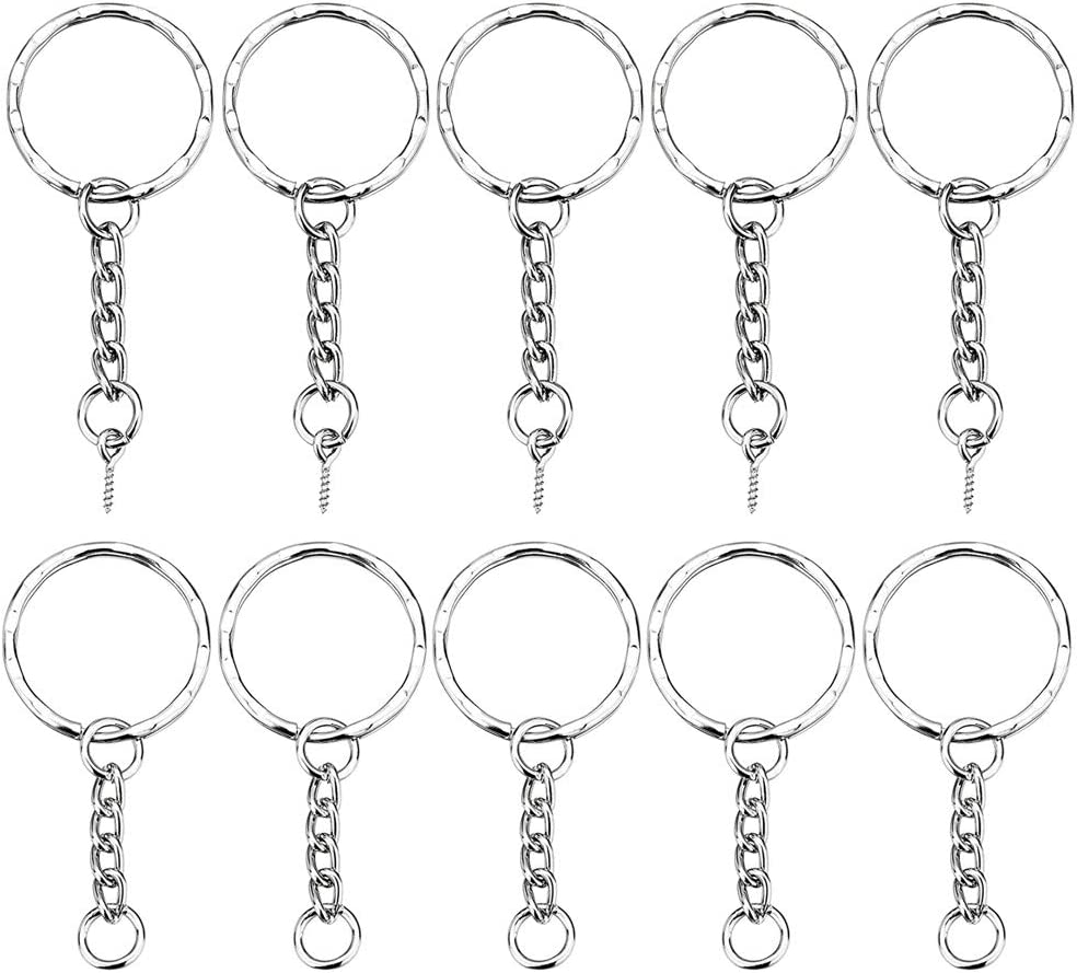 20x Metal Split Keychain Ring Part Key Chain with Open Jump Ring Connector