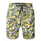 Adults Yellow Lemon Tree Hawaiian Shorts Drawstring Quick Dry Board Shorts