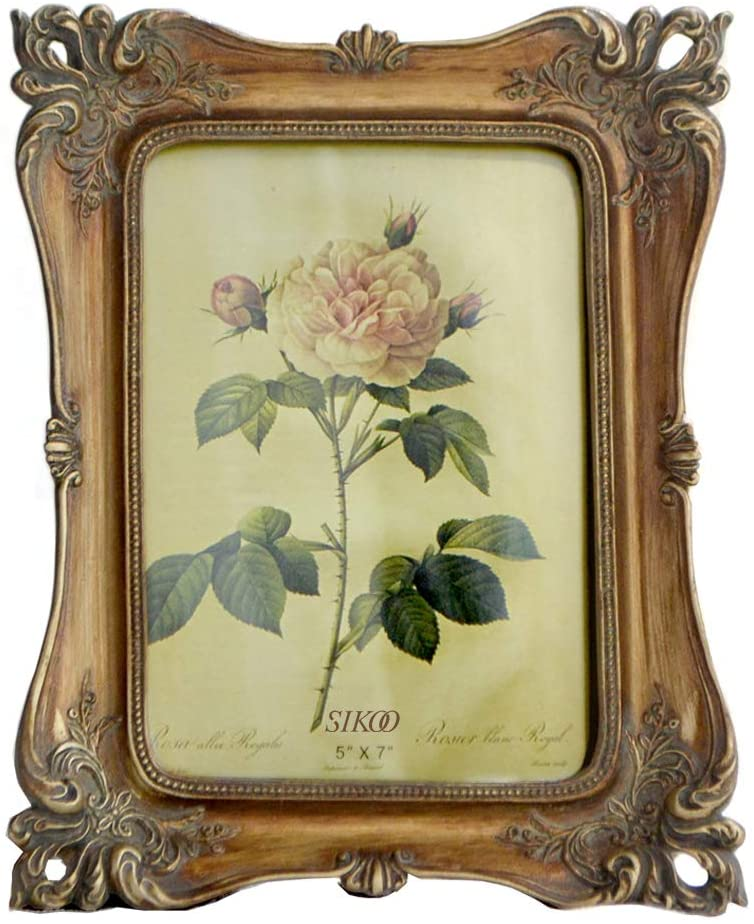 SIKOO Vintage Picture Frame 5x7 Tabletop and Wall Hanging Photo Frame with Glass Front for Home Decor (Bronze Gold)