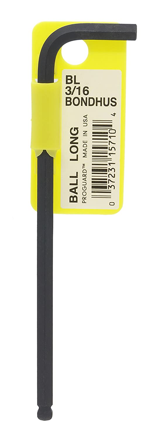 """Bondhus 15710 3/16"""" Ball End Tip Hex Key L-Wrench with ProGuard Finish, Tagged and Barcoded, Long Arm"""