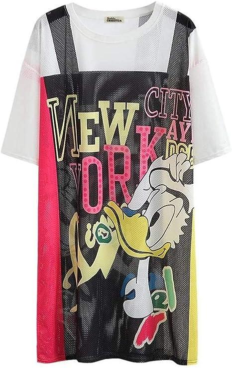 O&YQ Camiseta Holgada de Manga Corta, Vestido Largo de Hip-Hop de Verano, Camiseta Holgada, l: Amazon.es: Deportes y aire libre