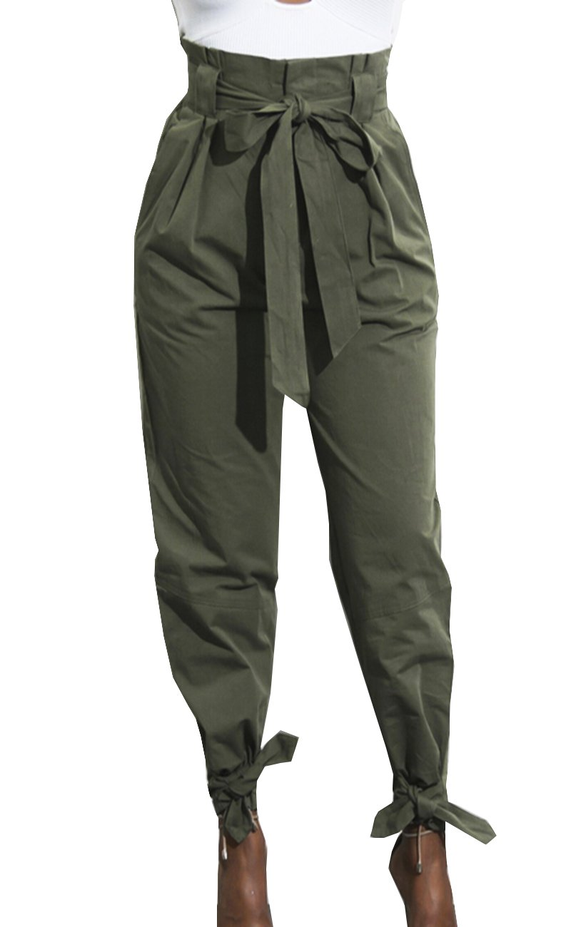 Momtuesdays2 Women's Active Yoga Lounge Sweat Pants with Bow Tie (Army Green, XL)