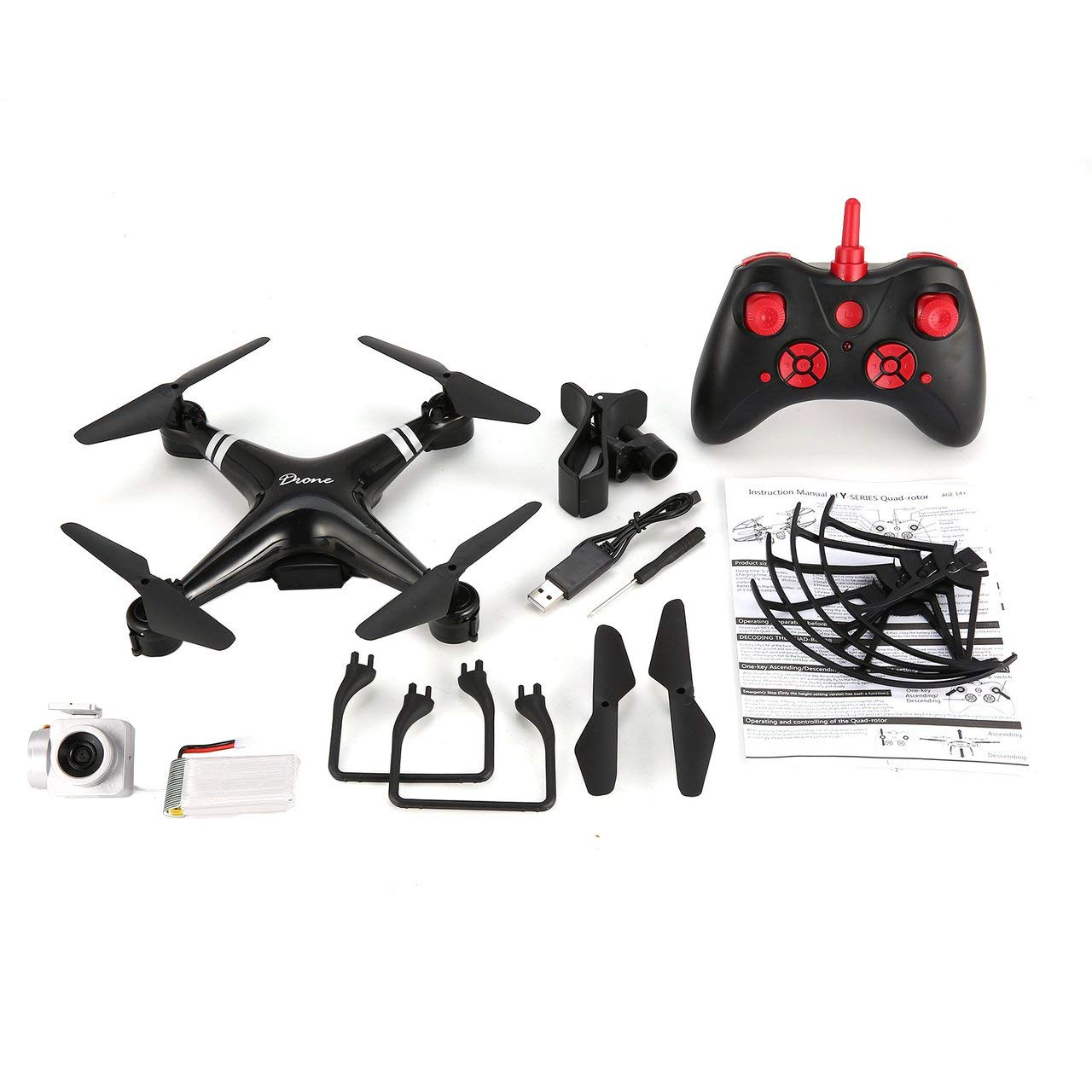 Jasnyfall KY101 RC Drone Weit Kamera Höhenwinkel 1080P Halten Headless Modus Quadcopter Schwarz
