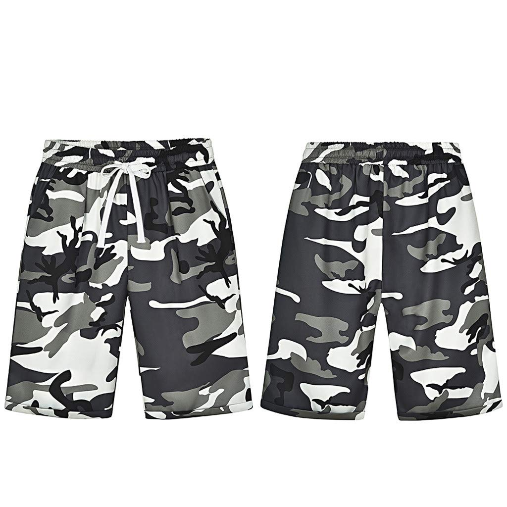 BSGSH Womens Ladies Casual Summer Camouflage Printed Knee Length Loose Shorts