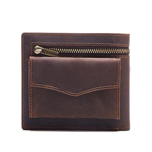 9cf8b2969dcdd MuLier Bifold Slim Pocket Crazy Horse Genuine Leather Men Thin Front Wallet  with Coin Pouch (