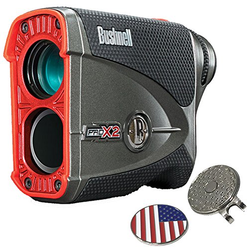 Bushnell Pro X2 Golf Laser Rangefinder GIFT BUNDLE | Includes Golf Rangefinder (Slope & Non-Slope Function) with Carrying Case(Clip included), Custom Ball Marker Hat Clip Set and Two (2) CR2 Batteries by Bushnell (Image #1)