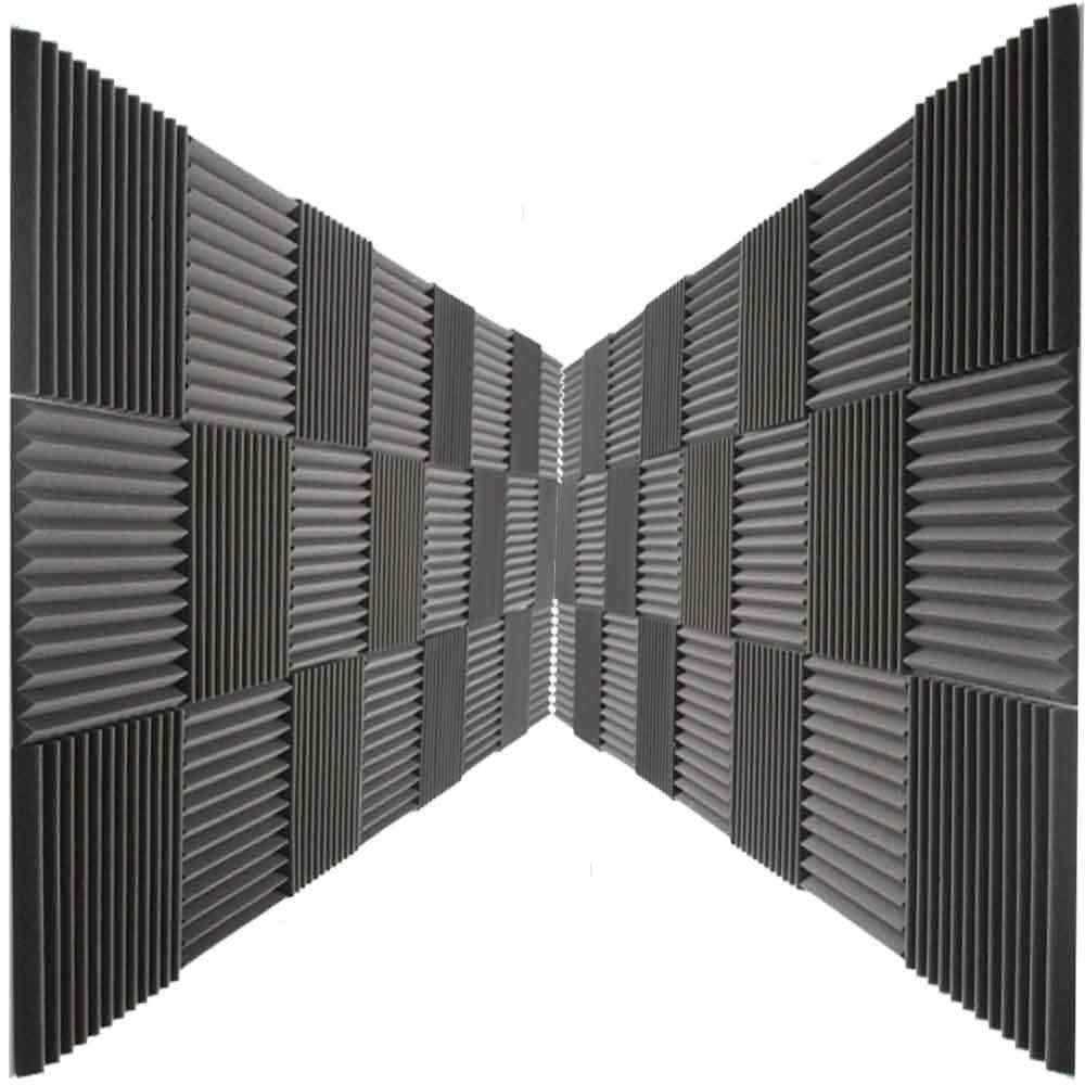 Mybecca 24 Pack Acoustic Foam Panels 2'' X 12'' X 12'' Studio Soundproofing Wedges (24 Square Feet), Charcoal