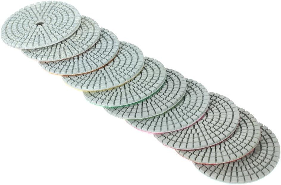 Baugger Tampons De Polissage Diamant 1 PC Support Pad pour Granit Marbre Pierre C/éramique B/éton 10 Pcs 3 /&Quot;Diamant Flexible Wet Polishing Pads Meulage Disque