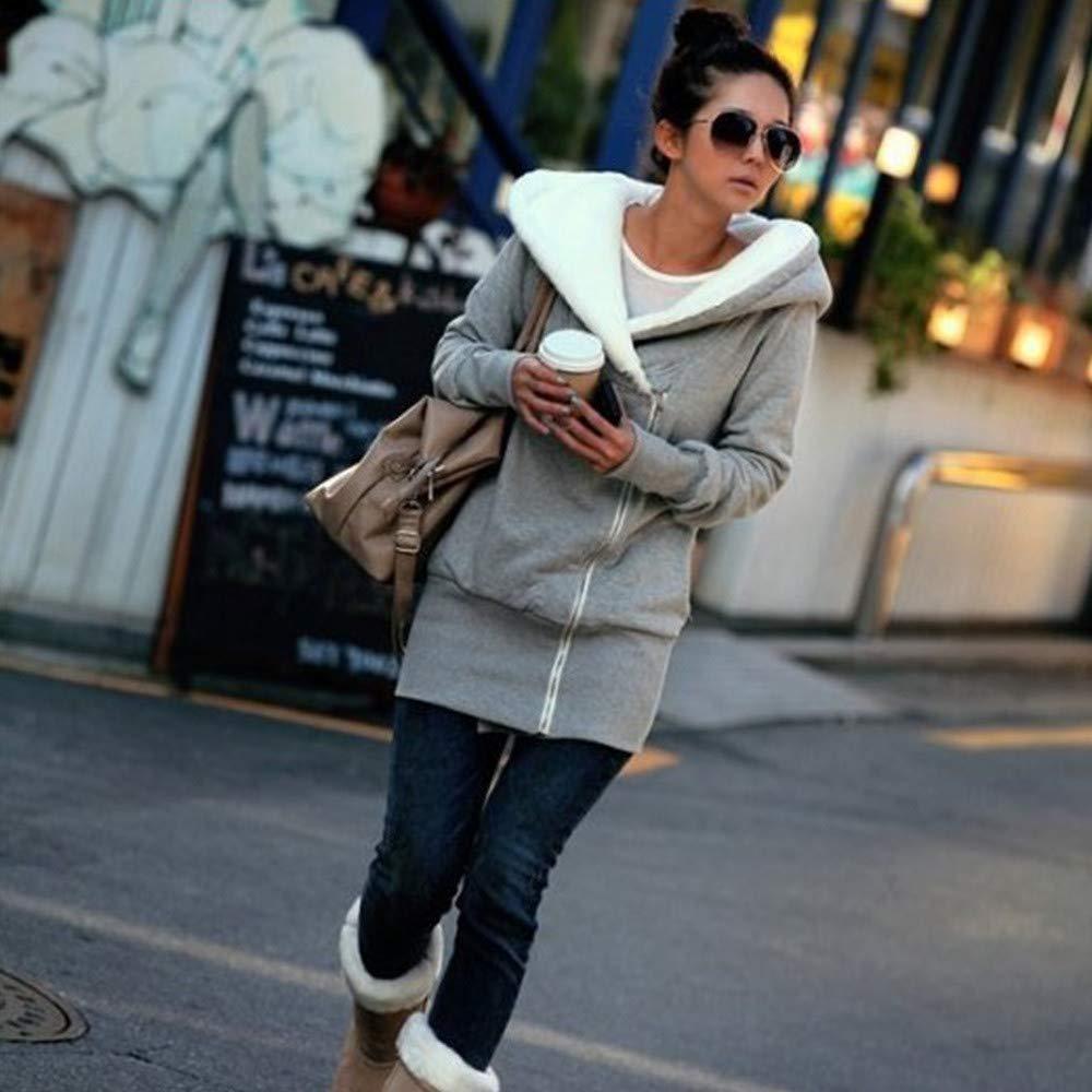 FarJing Womens Coat Long Sleeve Casual Pocket Hoodie Jacket Zipper Coat