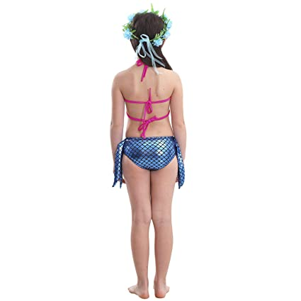 Amazon.com: THEE 3pcs Girls Swimsuit Mermaid Tail Swimming ...