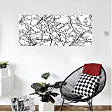 Liguo88 Custom canvas Home Decor Branches With Leaf Buds Springtime Woodland Countryside Nature Monochromic Decoration Bedroom Living Room Decor Balck White