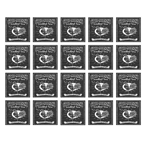 Ceramic Menu Tile - YOLIYANA Kitchen Decor Waterproof Ceramic Tile Stickers,Chalkboard Kitchenware Menu Art Morning Rooster Retro Style Cafe Home Design Utensils for Kitchen Living Room,One Size