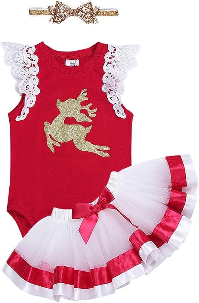FEESHOW Disfraz Bebé niña de Navidad Vestido Tutú Traje Disfraces ...