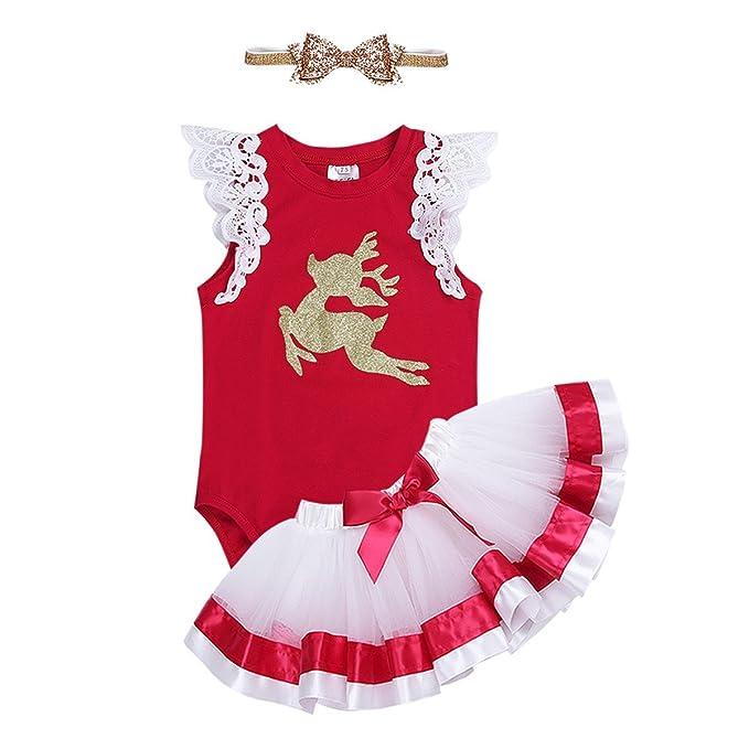 FEESHOW Disfraz Bebé niña de Navidad Vestido Tutú Traje Disfraces Peleles Mameluco Romper Rojo 3PCS en oferta Rojo 9-12 meses: Amazon.es: Ropa y accesorios