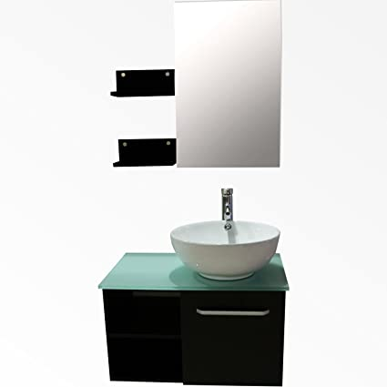 Sliverylake 28 Inch Bathroom Vanity Wood Cabinet Single Ceramic
