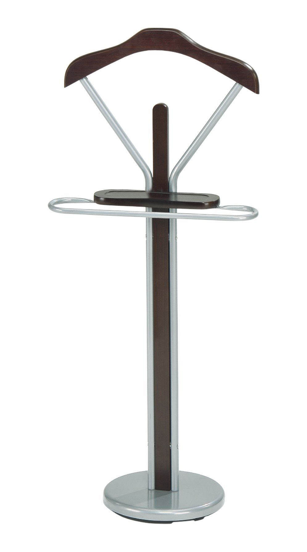 InRoom Designs CH-4089 Kings Brand Silver Finish Wood and Metal Suit Valet Rack Stand Organizer, Walnut by InRoom Designs (Image #3)