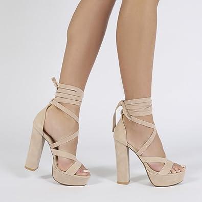 797991a3cb06 Public Desire Womens Stella Lace Up Chunky Heels Platform Sole Faux Suede  Shoes Nude Faux Suede