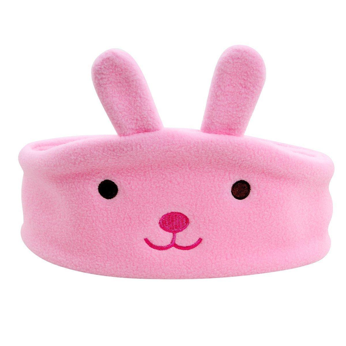 Children Headphone Kids Music Headphone Headband Volume Limited Adjustable Soft Children Fleece Washable Headband Eye Mask Sleeping Headphones for Travel and Home-Panda Xmas Birthday Gift (Pink)