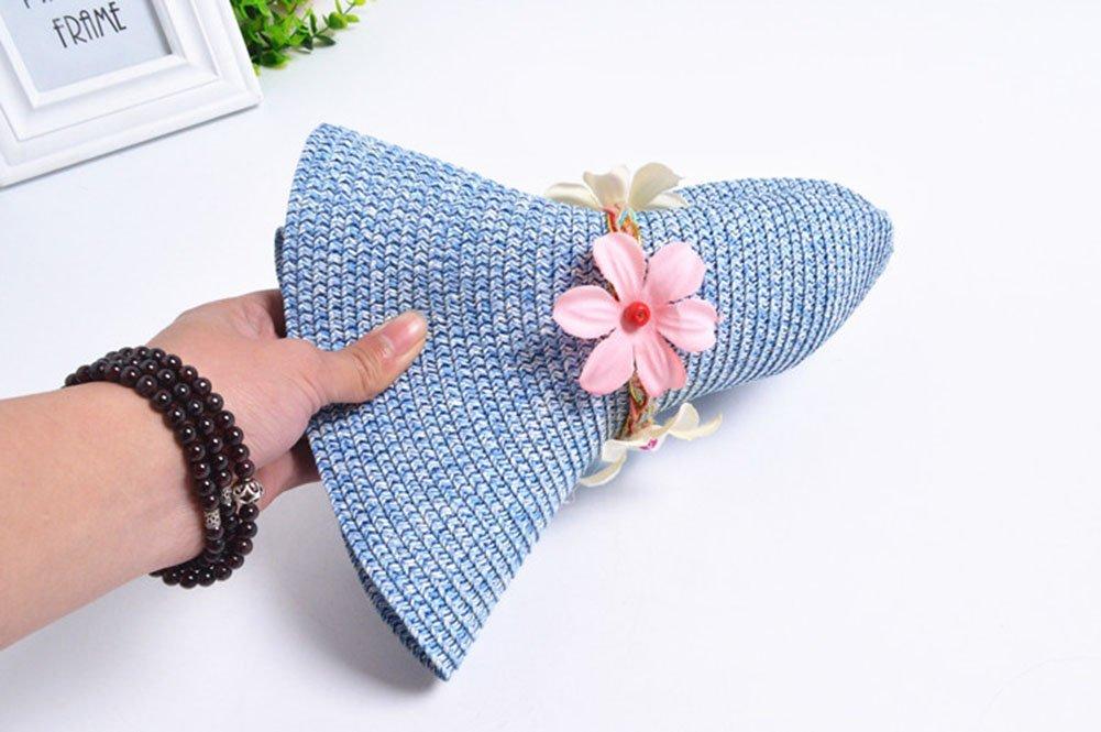 Westeng Sombrero de Paja para Ni/ños Flores Bastante Sombrero al Aire Libre Anti-UV Size 50-52cm Azul Marino