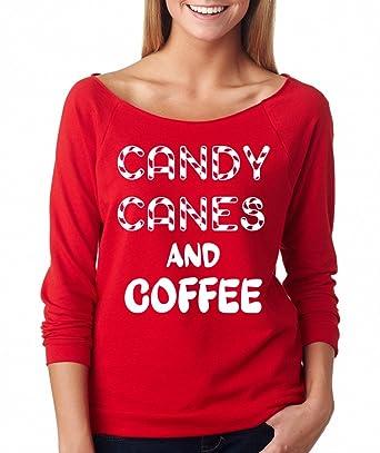 c302acbe8f747e Amazon.com: SignatureTshirts Women's Candy Canes and Coffee Christmas  Raglan Tee: Clothing