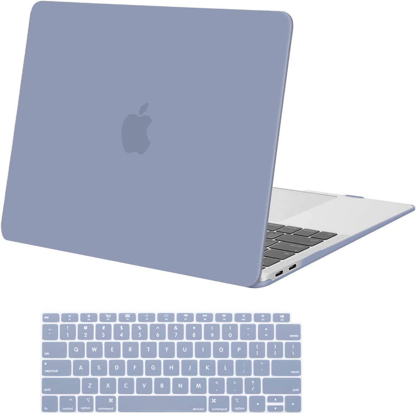 MOSISO MacBook Air 13 inch Case 2020 2019 2018 Release A2179 A1932 with Retina Display, Plastic Hard Shell Case & Keyboard Cover Only Compatible with MacBook Air 13 with Touch ID, Lavender Gray