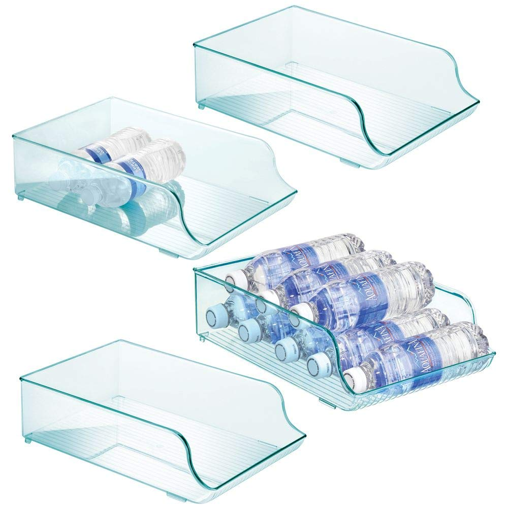 mDesign Wide Plastic Kitchen Water Bottle Storage Organizer Tray Rack - Holder and Dispenser for Refrigerators, Freezers, Cabinets, Pantry, Garage - 4 Pack - Sea Blue