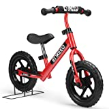Enkeeo 12 inch Balance Bike No Pedal for 2 - 6 Year Old Kids , Carbon Steel Frame, Adjustable Handlebar, Swat and Stand, 50kg Capacity