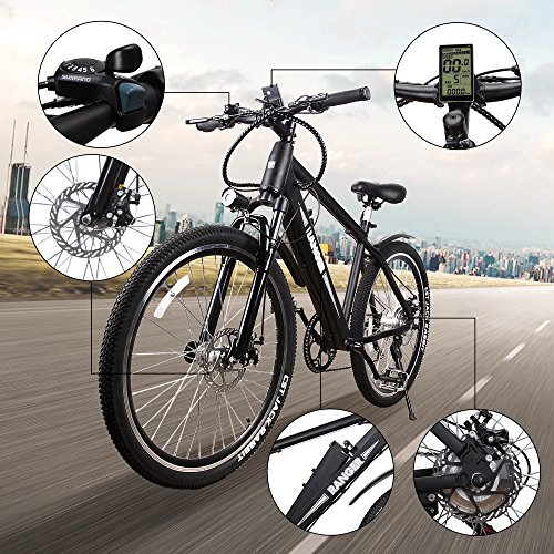 NAKTO 350W Electric Bicycle Mountain E-Bike SHIMANO 6 Speed Gear with Smart Multi Function LED Anti-Light Digital Dashboard,Removable and Waterproof Builtin 36V 10A Lithium Battery Review