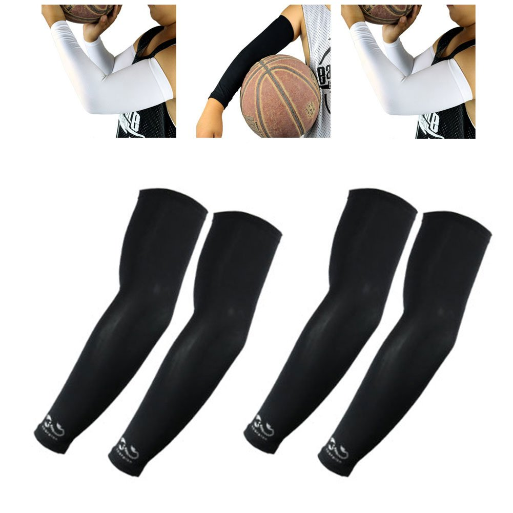 The Elixir Scorpion Sports Compression Arm Sleeves Youth Kids Size - Baseball Basketball Football Running - UV Sun Protection Cooling Base Layer, 2 Pairs - Black
