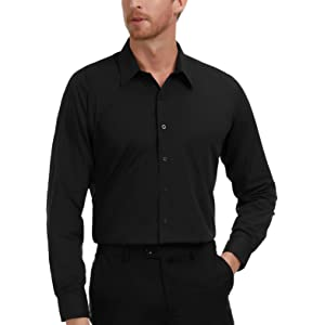 6f9516a4744955 Amazon.com: Black Slim Fit Dress Shirts for Men Long Sleeve 1044-1 ...