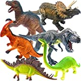 ToyerBee 13   Dinosaur Toys, 6 Pcs Jumbo Dinosaur Set, T-rex Dinosaurs Toys for Dinosaur Lovers, Kids, Adults, Great Choice for Boys, Girls, Birthday Gift, Party Favors, Rewards with Educational Map