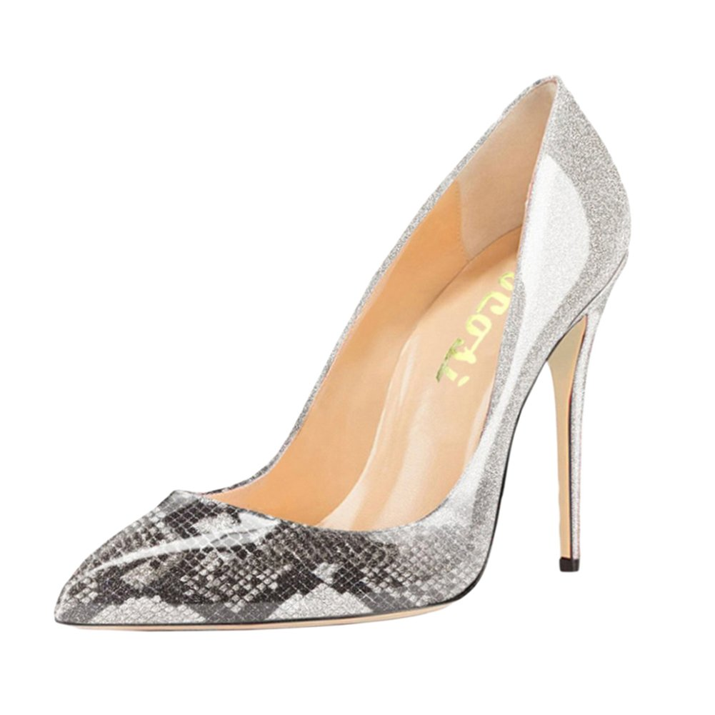VOCOSI Pointy Toe Pumps for Women,Patent Gradient Animal Print High Heels Usual Dress Shoes B077P32Z3D 8 B(M) US|Gradient Grey to Snake Print With 10cm Heel Height