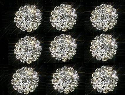 10 SMALL ROUND APPROX 15MM RHINESTONE DIAMANTE EMBELLISHMENTS 4 CENTRE STONES