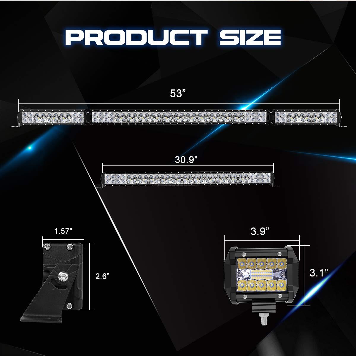 4PCS 4 LED Light Pods for Jeep Truck ATV Rigidhorse 28000LM 42 Inch LED Light Bar Kit 22 Inch Flood Spot Beam Combo White LED Light Bars 3 Years Warranty