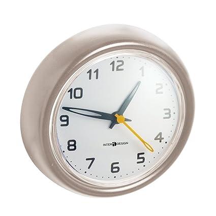 mDesign – Reloj de baño con ventosa – Reloj de pared fácil de colgar – El