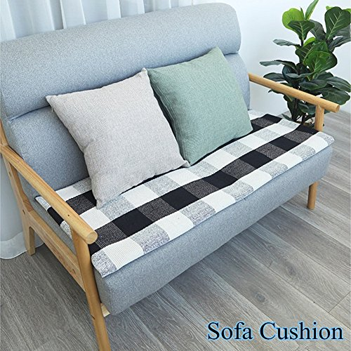 Levinis Kitchen Runner Rugs - Black and White Retro Lattice Sofa Cushion & Area Rug - Washable Hand-Woven Buffalo Checkered Floor Rugs for Laundry/Kitchen/Bathroom/Bedroom, 23.6'' x 70.8''