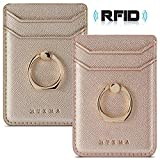 Cell Phone Card Holder RFID Ring Stand Stick on Wallet Pu Leather Card Holder for Back of Phone for iPhone Android and All Smartphones (Rose/Gold)